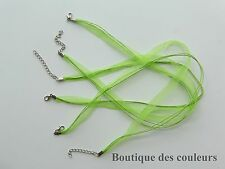 LOT DE 3 COLLIERS CORDONS RUBAN ORGANZA  VERT CREATION BIJOUX