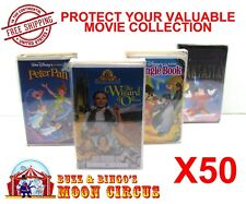 50x VHS MOVIE LARGE CLAMSHELL - CLEAR PLASTIC PROTECTIVE BOX PROTECTORS SLEEVE