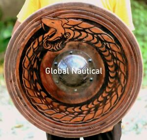 """Hand Carving Viking Dragon Shield Epoxy filled Round Shape 24"""" Wooden shield"""