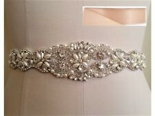 17 INCH LONG Wedding Bridal Sash Belt, Crystal Pearl Sash Belt = BLUSH SASH
