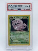 Pokemon Team Rocket Dark Weezing 14/82 1st Edition Holo PSA 10 Gem Mint