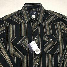 Wrangler Pearl Snap Western Shirt Mens Long Sleeve Navy Green Striped Size L NEW
