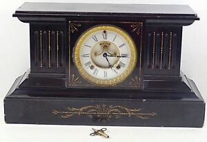 WILLIAM GILBERT WINSTED MANTEL CLOCK MARBLE 1900's WORKING W/KEY