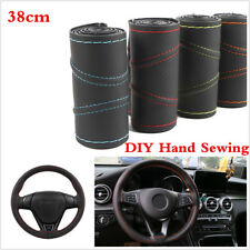 Breathable Leather DIY Car Steering Wheel Cover 38cm With Needles and Thread