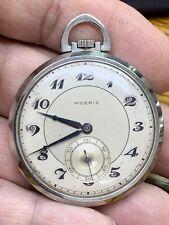 Antique MOERIS Pocket Watch in Original Steel Case.  Works!