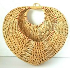 Vintage Wicker Basket Rattan Boho Woven Wall Hanging Storage Granny Chic Decor