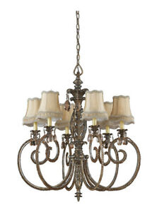 "Mardi Gras 6-Light 33"" Dia. Chandelier, Antique Pewter, Silver & Gold Highlights"