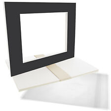 "5 16""x20"" Black Picture Mat Set White Core Bevel 11""x14"" Photos Backers & Bags"