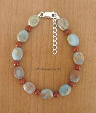 Jasper Gemstone Bracelet *Adjustable* *Handmade* Blue Serpentine & Red