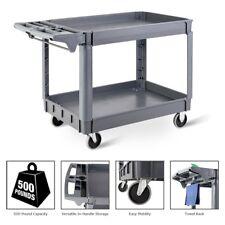 Multipurpose Restaurant Warehouse Plastic Utility 2 Shelves Rolling Service Cart