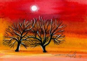 ACEO original acryl painting landscape tree sunset  by Anna Hoff