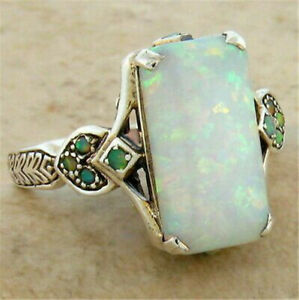 Gorgeous 925 Silver Wedding Rings for Women White Fire Opal Ring Jewelry Sz 6-10