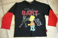Boy's Bart Simpson Black & red long sleeved T shirt - top - Age 5/6