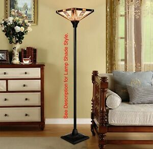 """Tiffany Style Mission Torchiere Floor Lamp 14"""" Shade Decoration See Descript"""