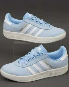 adidas Trimm Trab Samstag Trainers in Sky Blue & White - retro 80s casual shoes