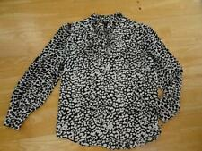 RIVER ISLAND ladies black white animal tie neck detail long sleeve top uk 16