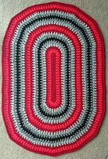 HAND MADE, DOUBLE  CROCHET, DECOR OVAL AREA RUG 99 cm x 65 cm
