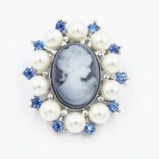 Fashion Pearl Lady Vintage Cameo Victorian Style Wedding Party Brooch Pin