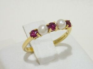 TIFFANY & CO. 18k yellow gold ring with pearls & rubies size 5