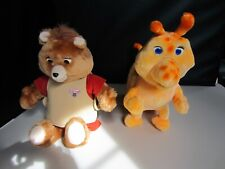 1985 Worlds Of Wonder Teddy Ruxpin & Grubby W/ Cord Books & Cassettes
