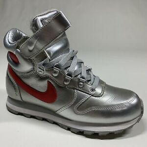 ❄️ Nike Snow Waffle High Top Silver Red Faux Fur Lined Womens Shoes Size 7.5