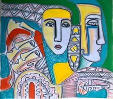 Abiezer Art Painting CERTIFIED Canvas Expressionist Acrylic Figurative 2012