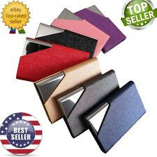Laser Engraving PU Leather Pocket Metal Business ID Credit Card Holder Case USA