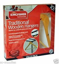 10 X WOODEN COAT HANGERS HIGH QUALITY TROUSER BAR CLOTHES WOOD HANGER WARDROBE