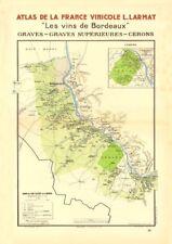 Bordeaux vins vin carte. tombes-graves supérieures-Cérons. larmat 1944