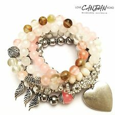 All You Need Is Love ❤️ Bracelet Set Howlite Quartz Gemstone Angel Wing Bohemian