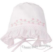 NWT Feltman Brothers Pink Smocked Baby Bonnet Newborn Girls newborn 0 3 M