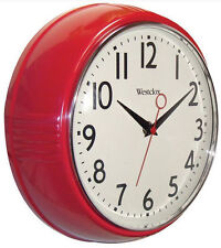"Westclox Retro Look Red Kitchen 9.5"" Wall Clock Second Hand Battery Operated"