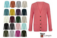 Femme Femmes Manches Longues Bouton Chunky Cable Knitted Cardigan Sz 8-22