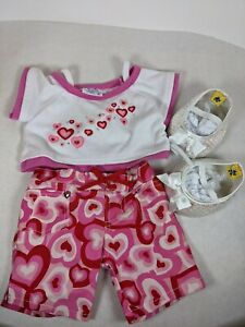 Build A Bear Valentine Heart,  Heart Matching Shorts + white sequined shoes