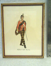 Antique Lithograph Scottish Highland Light Infantry Uniform illustrations Print