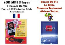 1GB MP3 Player +French MP3 Audio Bible - Parole De Vie Version NT, FREE P&P