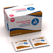 100 Povidone Iodine Prep Pads PVP Betadine Wound Dynarex 1108 Germ Antiseptic