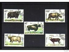 1005++LAOS   SERIE TIMBRES  ANIMAUX  SAUVAGES