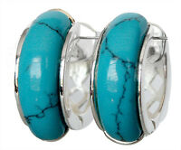 New lady jewelry  Blue Turquoise 925 Sterling silver Stud Earrings