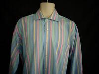 John Forsyth Signature Blue Green Yellow Pink Stripe Long Sleeve Shirt Mens sz L