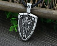 Archangel Saint St Michael Protect Us Medal Cross Shield Amulet Necklace Silver