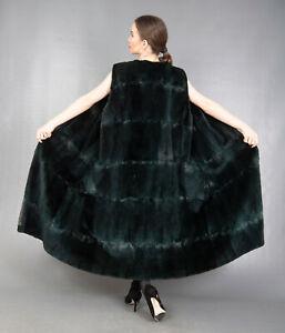10218 AMAZING REAL GREEN SHEARED MUSKRAT COAT FUR VEST LONG BEAUTIFUL SIZE M