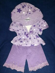 Build-A-Bear PURPLE STAR HOODIE AND MATCHING LACE LEGGINGS. 7