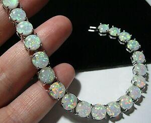 """Beautiful Jewellery Glass Fire Opal Tennis Bracelet Vintage Style 7.75"""" Long"""