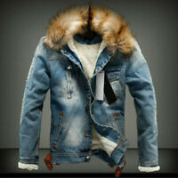 Men's Winter Warm Fur Collar Denim Jacket Fleece Thick Padded Coat Outwear Parka