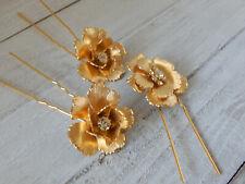 HAIR PIN BRIDE FORMAL COMB BHLDN SET3 GOLD PEARL SWAROVSKI CRYSTAL FLOWER $95