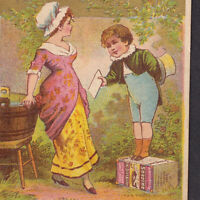 Victorian Romance Soapbox Stump Courting Calling Card 1800's Soapine Trade Card
