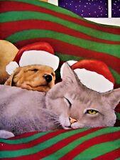 Vintage Christmas Greeting Card Gray Cat Puppy Dog Santa Hats Bullas Unused 1996