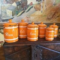 Antique French Enamelware Kitchen Cannister Metal Pot S/6 Paris