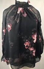 Forever New Black Pink Top Size 6 Floral Cold-shoulder Lace Trim Long Sleeve